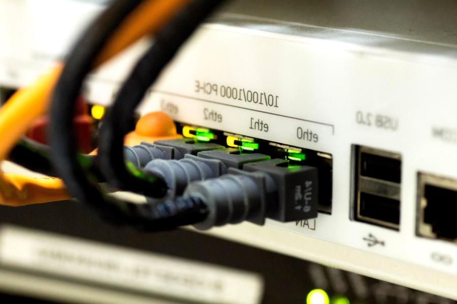 Router, cabel, computadora, tecnología, internet, empresa negocio, información