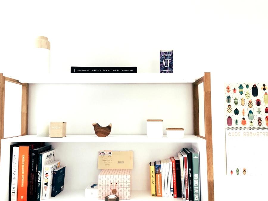 shelf, book, stuff, furniture, room, interior