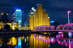 Ville, rivière, front de mer, architecture, urbain, nuit, rivière