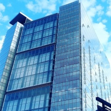 building, blue sky, facade, glass, modern, architecture