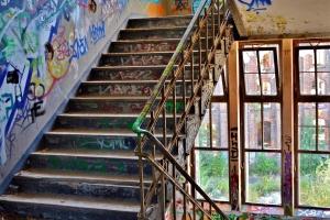 architecture, stairway, graffiti, wall