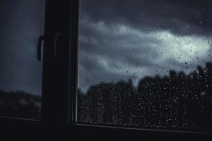 Tempesta, pioggia, vetro, buio, notte, finestra