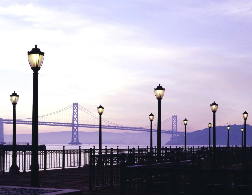 street lamp, bridge, dusk, sky, street