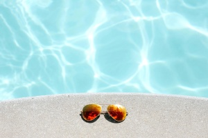 sunglasses, swimming pool, water