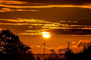 sunset, wind, power plant, Sun