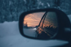 sunset, car, vehicle, mirror, reflector