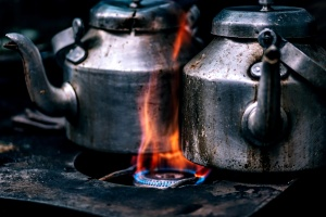 tea, flame, pot, coffee pot