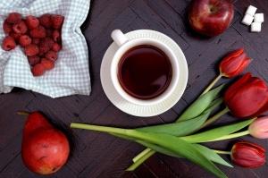 Té, fruta, tulipán, flor, tabla, decoración, naturaleza muerta