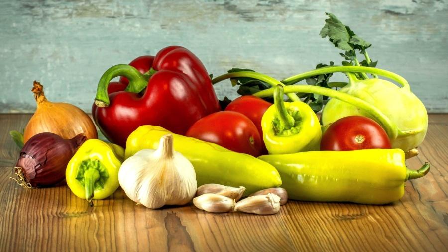 paprika, sayuran, makanan, diet, bawang putih, salad