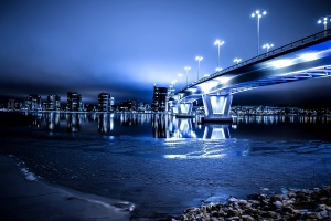 night, bridge, city, architecture, urban