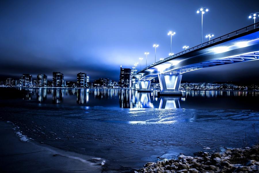 Notte, ponte, città, architettura, urbano