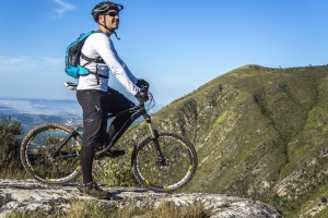 man, bicycle, sport, helmet, backpack, mountain