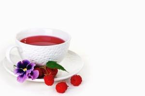 Frambuesa, flor, pétalo, cerámica, té, bebida