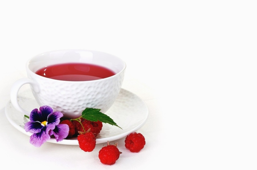 raspberry, flower, petal, cup, ceramic, tea, beverage