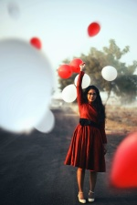 dievča, balón, červená, biela, šťastie, láska