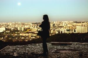 girl, city, architecture, building, sky, silhouette, landscape