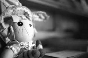 Muñeca, juguete, negro, monocromo