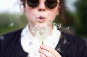 dandelion, seed, sunglasses, girl
