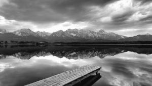 reflection, water, lake, mountain, snow, dock, wall