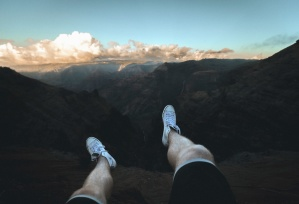 leg, shoe, man, mountain, rocks, clouds, cliff