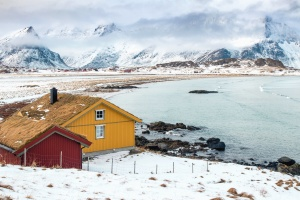 snow, house, winter, mountain, lake, rocks, fog