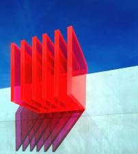 изкуство, панел, прозрачни, червени, сянка, светлина