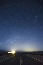 Route, lumière, transport, étoile, nuit, asphalte