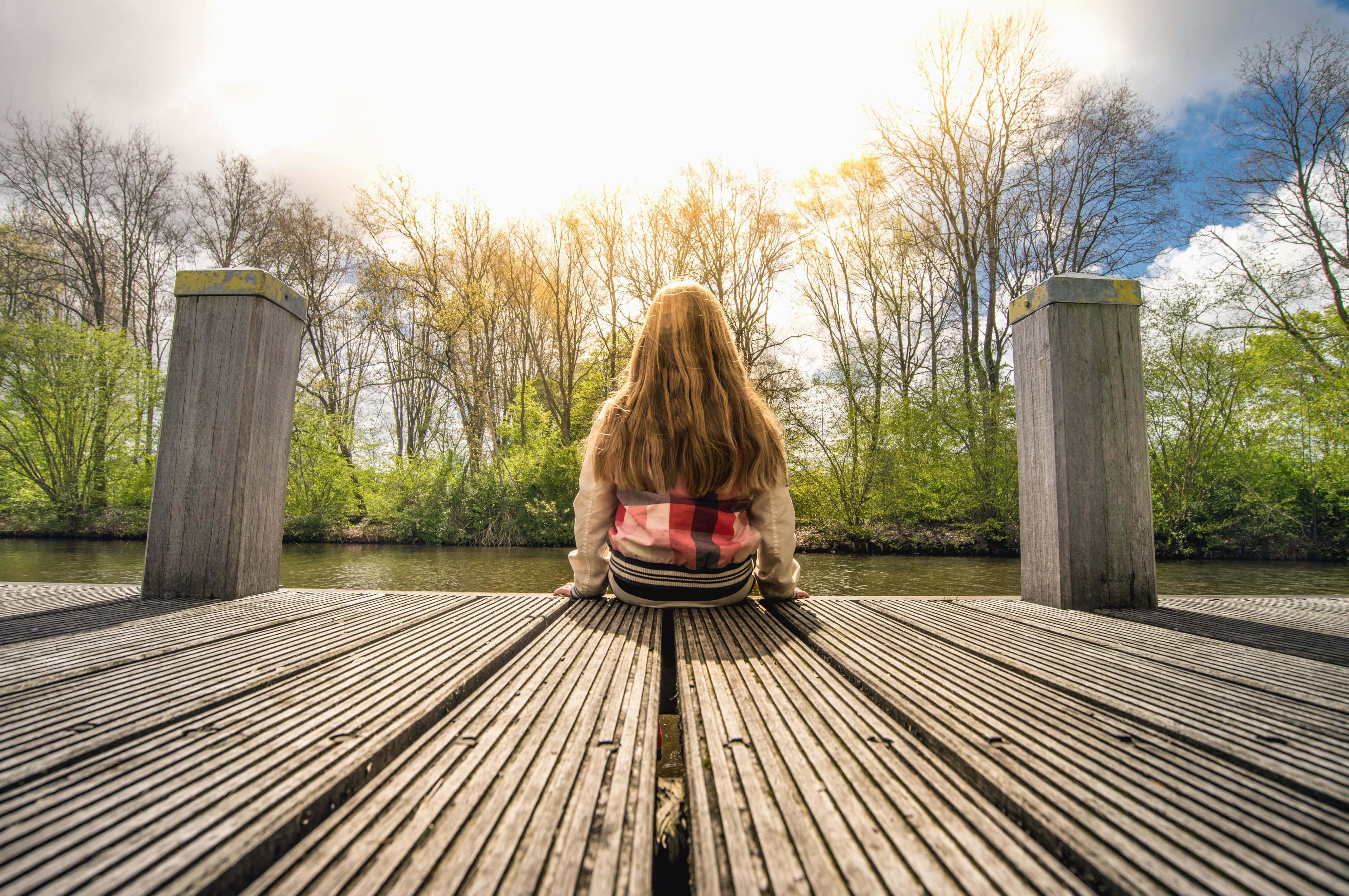 Free Picture Girl Dock Wood Plank Pillar River Water