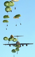 paratrooper, parachute, plane, mlazan, transport, flight