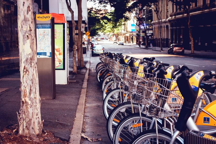 bicikala, parkiralište, ulice, asfalt, grad, prijevoz