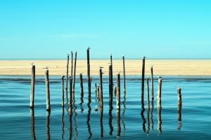 Pilar, agua, mar, arena, reflexión