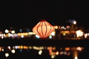 lamp, light, night, decoration, romance, city, river, reflection