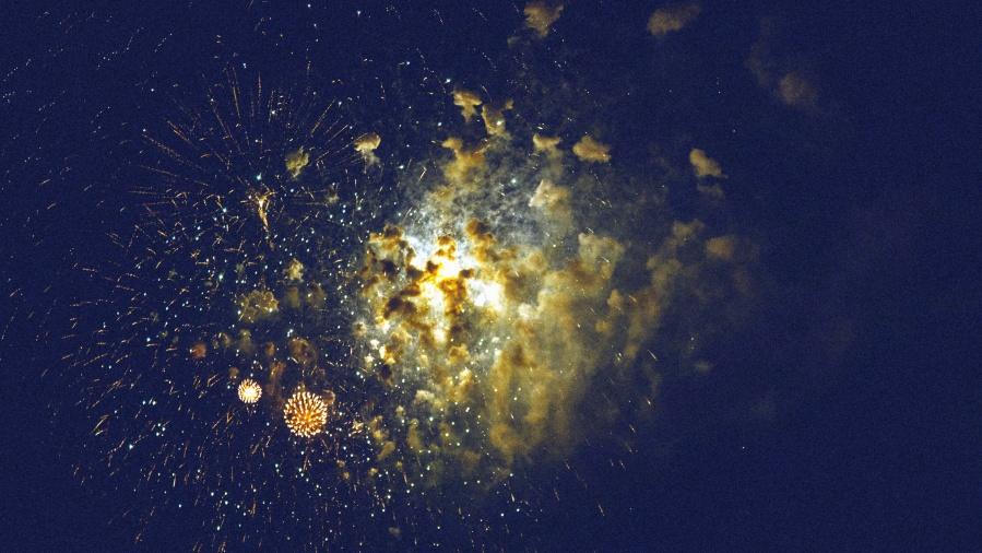Sky, noc, ohňostroj, světlo, exploze, oslava, nový rok