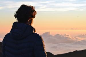 남자, 자 켓, 실루엣, 그림자, 구름, 산, 하늘, 일몰