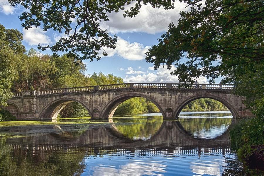 water, reflection, bridge, wood, river, cloud