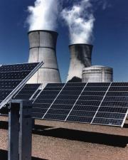 aurinkopaneelit, energia, savupiippu, savun, steam, sun