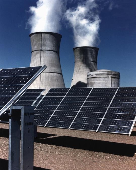 solar panels, energy, chimney, smoke, steam, sun