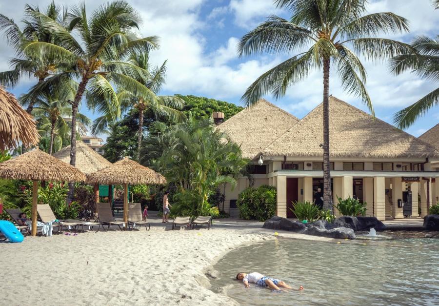 house, sea, tropic, parasol, beach, sand, man, palm tree