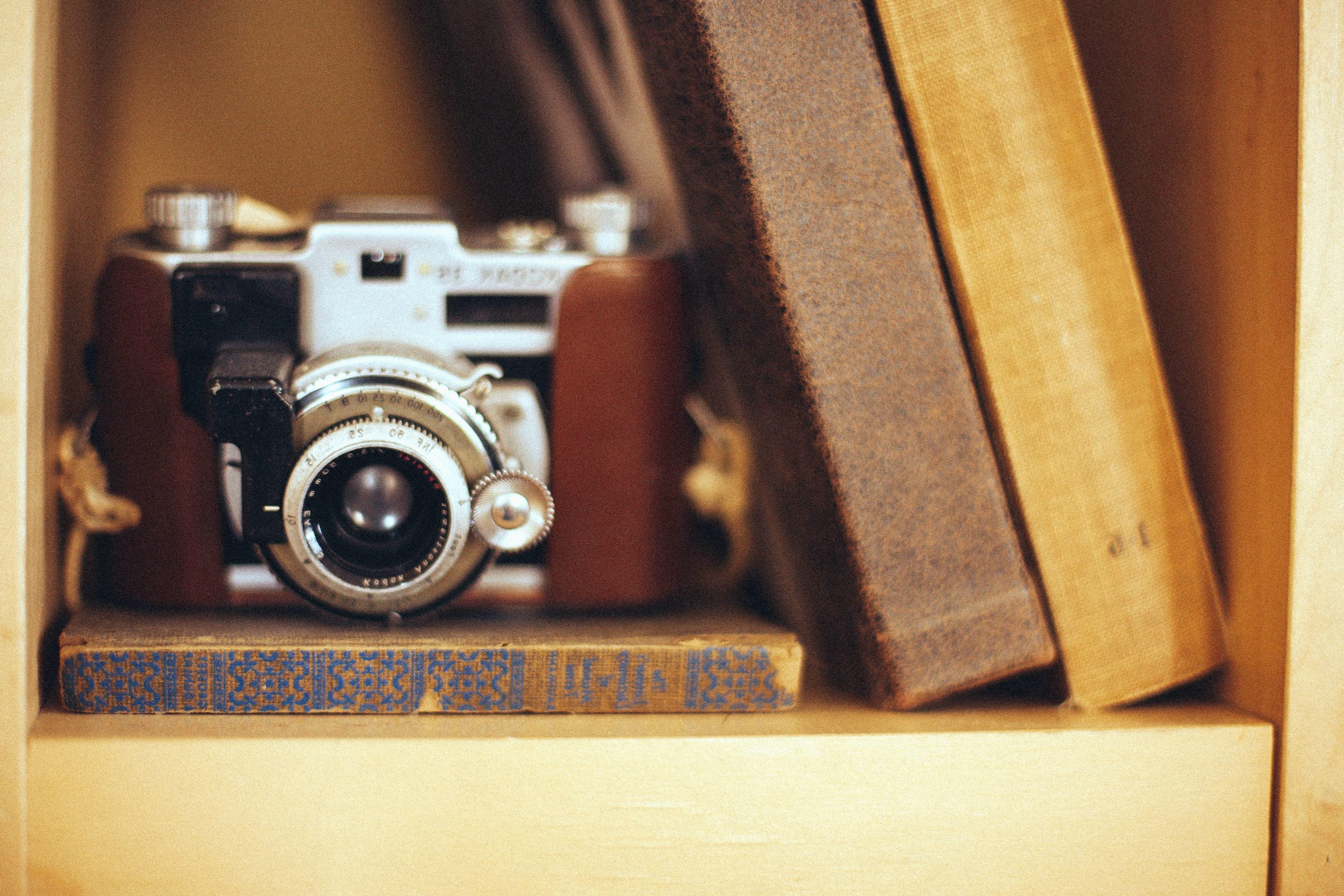 Free picture: retro, photo camera, lens, leather, album, cabinet, wood