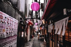 Asie, rue, publicité, affiche, rue, trottoir