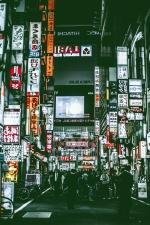 Asia, street, advertising, store, street, people, sidewalk