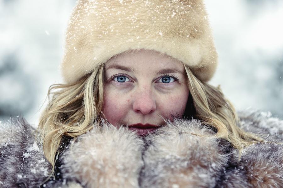 djevojka, zima, plava, oko, kaput, krzno, snijeg