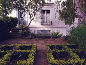 garden, bench, house, window, facade, grille, plant, flower