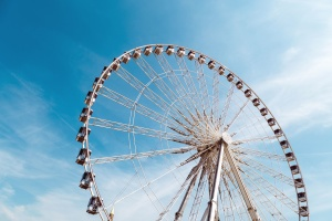 amusement park, wheel, construction, entertainment, sky