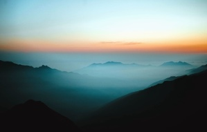 sky, fog, sunset, mountain, landscape