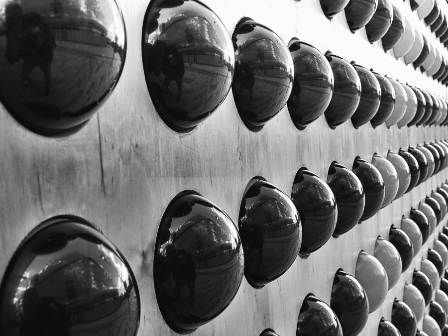 vägg, sfär, glas, speglar, street