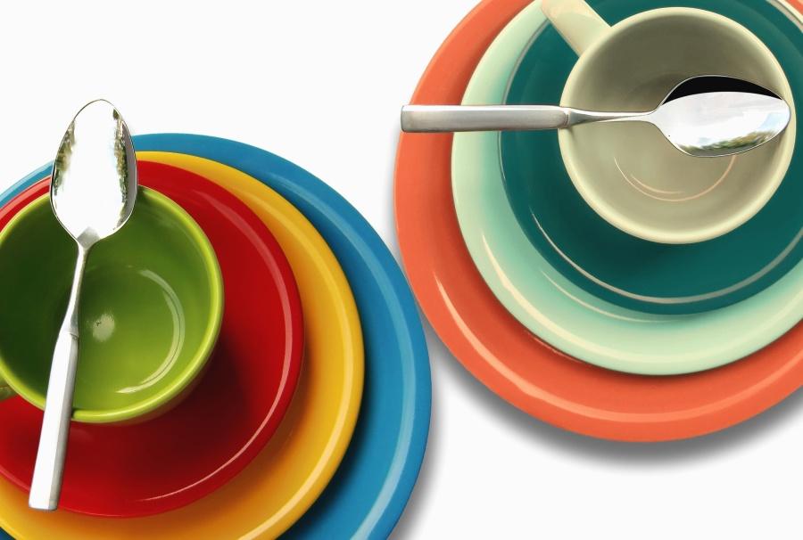 Bol, cuillère, coloré, bol, assiette