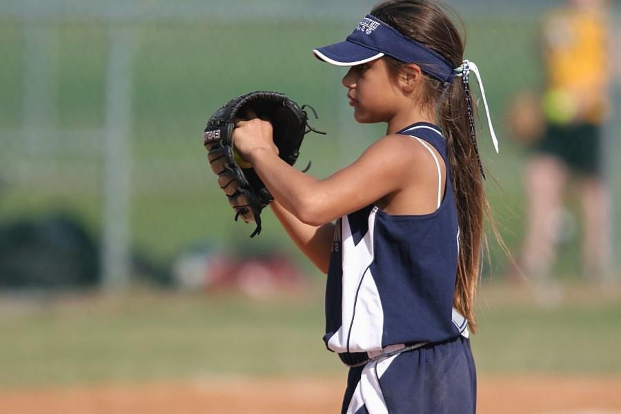 Baseball, fille, chapeau, uniforme, jeu, sport