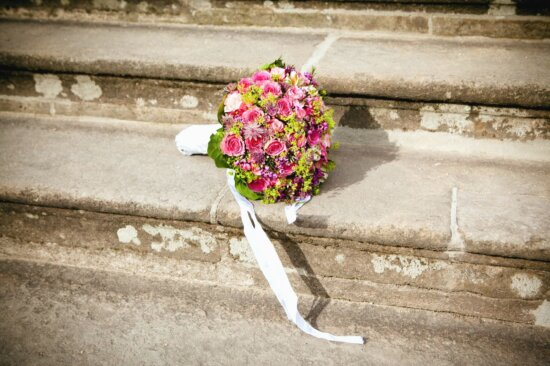 Ramo, boda, escaleras, flor, pétalo