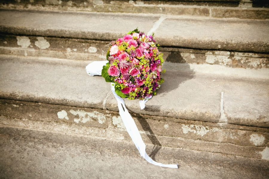 bouquet, wedding, stairs, flower, petal